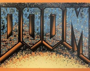"DOOM! (Doom inspired Silkscreen Print) - 12"" x 18"""