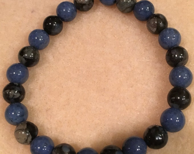Que Sera (Llanite) & Dumortierite 8mm Stretch Bead Bracelet with Sterling Silver Accent