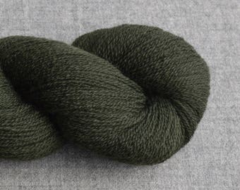 Lace Weight Recycled Merino Wool Yarn in Forest Green, Lot 030517