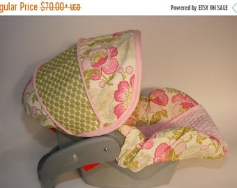 Fall SALE Infant Car seat Cover - Lotus Baby Girl-  with light pink minky by Baby Seat Covers By Jill Always comes with FREE strap covers