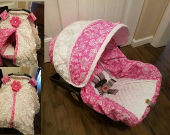 READY TO Ship - pink floral and 3d roses in white car seat cover and tent-Made  Chicco/Evenflo seats (Slipcover,canopy/strap covers,tent )