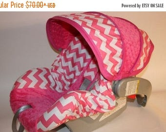 SALE Baby Car Seat Cover set in Hot pink Chevron-Infant car seat cover-Custom Made comes with replacement canopy, bottom slipcover 2 strap c