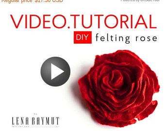 Jewelry Tutorial, Video Lesson, Wet Felting Tutorial, Instant Download, Do It Yourself, Felted Wool Brooch, How To Make Brooch, DIY Project