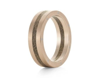 Rivet Rose - 9ct Rose Gold, Palladium Rivets & Wood Ring