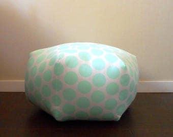 Mint Pouf, Polka Dot, Large Pouf, Floor Stool, Floor Cushion, Moroccan, Dorm Decor, Furniture, Pouffe, Foot Stool, Nursery, Floor Pouf
