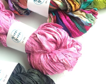 Sari silk ribbon, mixed bumper pack of large skeins! Ethical yarn, great prices. Knitting yarn, jewelry making, ribbon yarn. 4 x 100g
