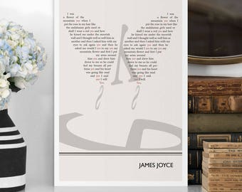 "Literary Art Print, ""James Joyce"" Large Wall Art Posters, Literary Quote Poster, Illustration, Black and White Art, Literary Gift"