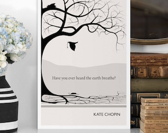 "Literary Art Print, ""Kate Chopin"" Large Wall Art Posters, Literary Quote Poster, Illustration, Black and White Art, Literary Gift"