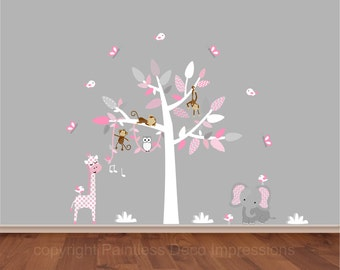 """Pink Jungle decor,monkey in tree,vine wall decal,Pink Decal sticker, polka dot chevron decals, white tree decal stickers - 91.50""""w x 72.75t"""