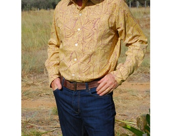 Mens Shirt, Buttondown Shirt, Mens Dress Shirt Batik, Dad Gift, Mens Gift Shirt, Mens Buttondown