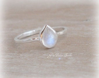 Rainbow Moonstone Ring Sterling Silver, Handmade, Stacking Ring, Boho Style Ring, Pear Shaped Gemstone, Bezel Set Ring, June Birthstone, NEW