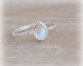 Rainbow Moonstone Ring Sterling Silver, Stacking Ring, Boho Ring, Gemstone Stacker, Pear Shaped, June Birthstone, Handmade ring, NEW