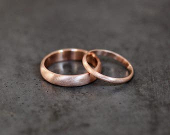 Rose Gold Eco Wedding Set, Brushed Men's and Women's His and Hers 4mm and 2mm Low Dome Recycled 14k Rose Gold Wedding Ring Couple's Bands