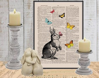 Bunny rabbit wall art print COUPON SALE Butterfly nursery art Dictionary art print Wall decor Sheet music print Digital art print No 731
