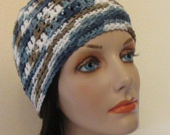 Blue Brown White Beanie, Blue Snow Hat, Unisex Beanie, Ice Skating, Hockey Mom, Hockey Dad, Snow Playing, Winter Hat