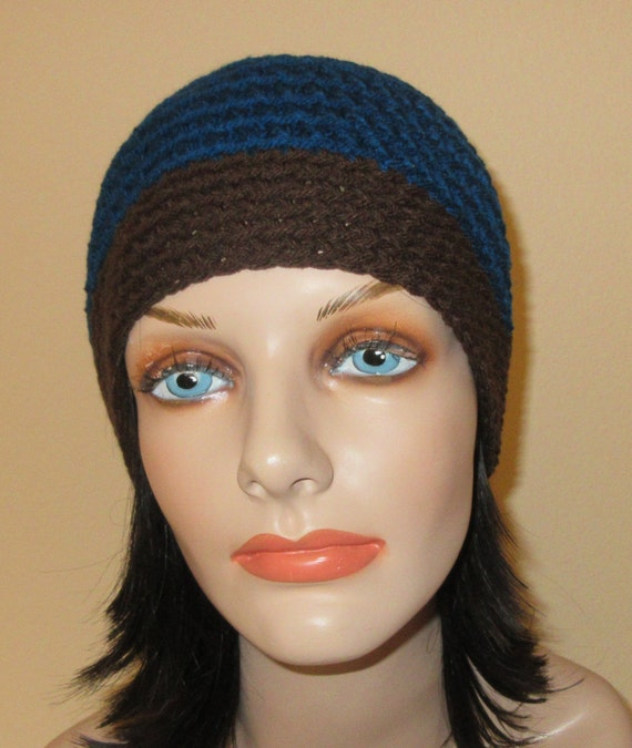 Blue Crochet Beanie, Peacock Blue Beanie, Cold Weather Accessory, Brown Brim Beanie, Blue Snow Hat, Hockey Mom, Snow Playing, Ice Skating