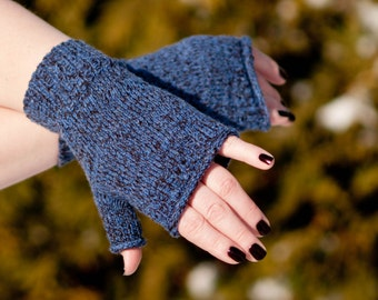 Blue and brown marl gauntlets (fingerless gloves)