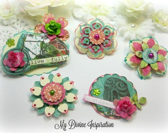 Kaisercraft Secret Admirer Handmade Paper Embellishments and Paper Flowers for Scrapbook Layouts Cards Tags Mini Albums and Paper Crafts