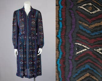Early 80s Vintage Black Sheer Aztec Print Pleated Midi Dress (M)