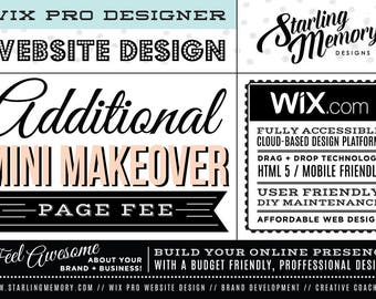 ADDITIONAL Page Fee for MINI MAKEOVER Wix Website Design Package - Wix Website Design Package Add-On - Wix WebDesign - Wix Pro Designer