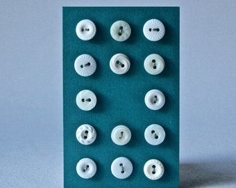 14 Vintage White Buttons for Sewing and Crafting