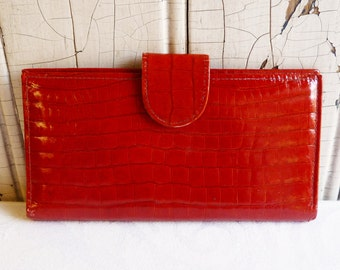 Vintage Princess Gardner Red Leather Wallet - Faux Alligator - Real Alligator - Attached Coin Purse - Mid-Century 1960s