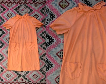 Vintage 1960's Coral Pink Fleece Day Dress/ Nightie Women's Retro Mod Size Medium to Large