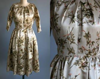 Vintage 1950's Floral Dress / 50's Dress / Cocktail Dress / Pin Up Mad Men / Women's Dress