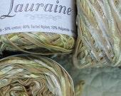 9 Balls Cotton blend Ribbon Yarn Lauraine  mixed variegated green 50gram ball
