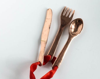 Salvage Mini Cutlery Knife Fork Spoon Altered Art Supply Repurpose Upcycle Copper Found Object