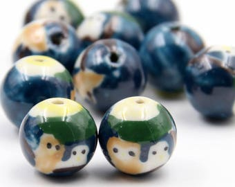 15Pieces 16mm Porcelain Beads DIY Jewelry Finding For Handwork  ja680