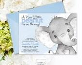 Blue Elephant Baby Shower Invitation - It's a Boy Watercolor Elephant Modern Baby Shower Blue and Grey Little Peanut Printable