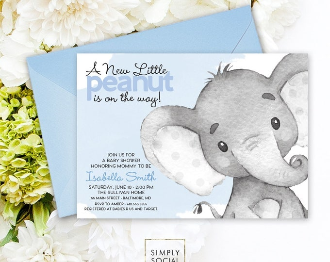 Blue Elephant Baby Shower Invitation - It's a Boy Watercolor Elephant Modern Baby Shower Blue and Grey Little Peanut Printable Baby Boy