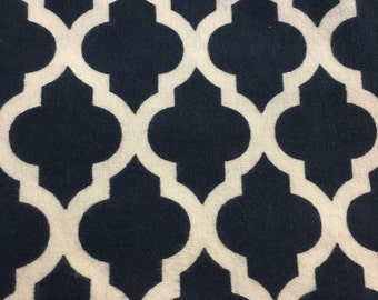 Navy and White Lattice -  FLANNEL Fabric - BTY