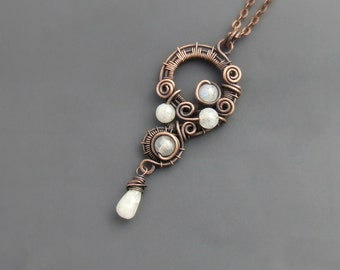 Real rainbow moonstone necklace, natural stone pendant, fairy rustic look copper necklace, women gift jewelry