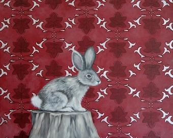 Rabbit Silver Metallic Burgundy Pattern Acrylic Original Painting
