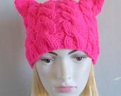 Pussy hat Womens Hat Knit Hat Cat Ears Cat Beanie Knit Winter Accessories PINK BLACK Cat Animals Hat cat ears hat womens march Pink hat