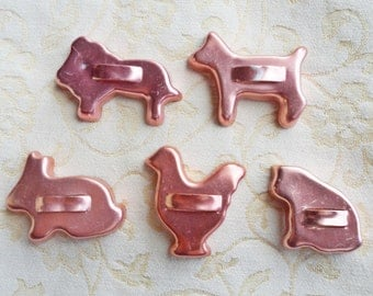 Set of 5 - copper tone aluminum ANIMAL CRACKERS Cookie CUTTERS