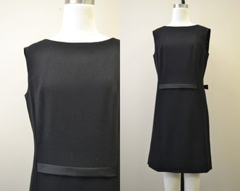 1960s Black Shift Dress with Bow Detail