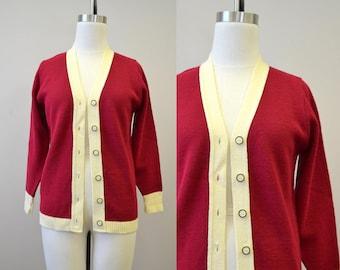 1970s Cranberry and Cream Cardigan Sweater