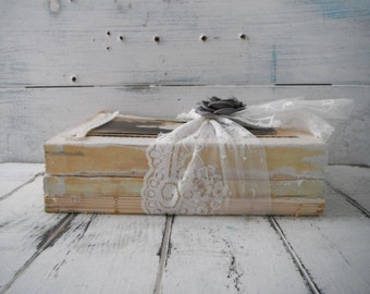 vintage book bundle altered books upcycled brocante table setting decor shabby decor rustic chic decor shelf sitter upcycled vintage books