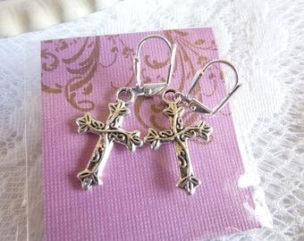 Leafy Vine Cross Earrings
