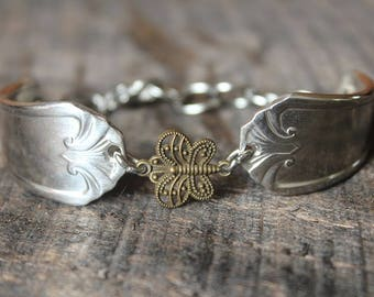 Beautiful Antique Spoon Bracelet Butterfly Charm - FREE SHIPPING