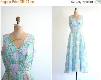 24 HOUR SALE pastel floral print 60s maxi dress - vintage 1960s mod dress / Aqua Blue - 60s prom / mod vintage wedding - retro bridesmaid