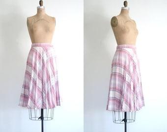 3 DAY SALE 1970s knife pleated campus skirt - pale pink plaid skirt / bias plaid skirt - metallic threads / vintage 70s skirt - pleated skir