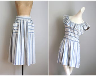vintage 50s summer playsuit & skirt - Paddle and Saddle romper / 1950s playsuit - matching skirt / striped cotton romper - summer set