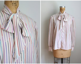 vintage 80s striped pussy bow blouse - silky 80s blouse / neck bow blouse - multi color stripe blouse / 80s secretary blouse - bow top
