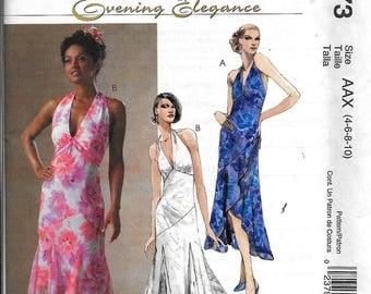 McCall's M4773 Evening Elegance HALTER DRESS Sewing Pattern UNCUT Size 4, 6, 8, 10
