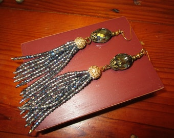 Magnificent AB Montana Blue SWAROVSKI Mega Faceted Crystal, Micro Pave Gold Bead Cap & Gold/Blue Ab TASSEL Dangle/Drop Pierced Earrings