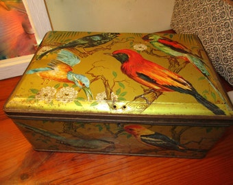 "Beyond Rare, Late 1800's Signed French Large Tin/Casket/Box w/Hinged Lid, Covered w/LITHO BIRDS  - ""Mon Bana La Garenne Colombes Seine"""